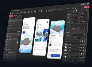 Mobile application development software on a computer screen