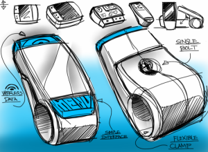 Conceptual design drawing of a new folding cell phone style product