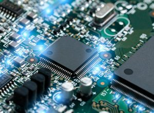 Micro-processor on a electrically engineered printed circuit board.